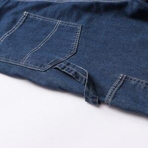 Image 5 - Sokotoo masculino plus size grande bolso solto bib macacão de trabalho casual suspensórios macacões jeans azul escuro claro