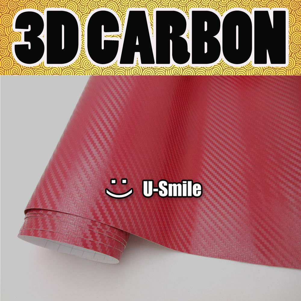 Premium Wine Red 3D Carbon Fiber Vinyl Wrap Sticker Decal Film Sheet Car Wrapping Size:1.52X30M/Roll 40cmx200cm car styling 3d 3m carbon fiber sheet wrap film vinyl car stickers and decals motorcycle automobiles car accessories