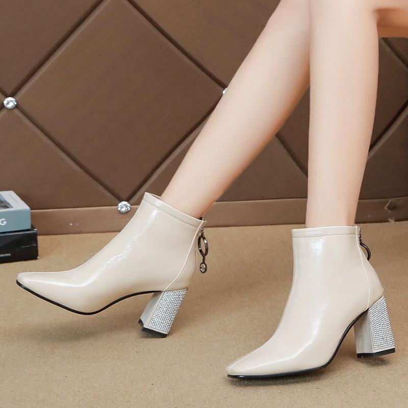 De Beige Botas Cuadrado Cuero Nuevo Del Pie Cremallera Mujeres negro Alto Caliente Size35 Lluvia Bota 40 Dedo Tacón Zapatos Tobillo Mujer 2019 Ladise Pu 0wBF4qF