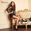 Luxury Cocktail Dresses Long Sleeve Beaded Crystals Vestido de Festa Sexy See Through Black Cocktail Party Dress Mini Short Prom
