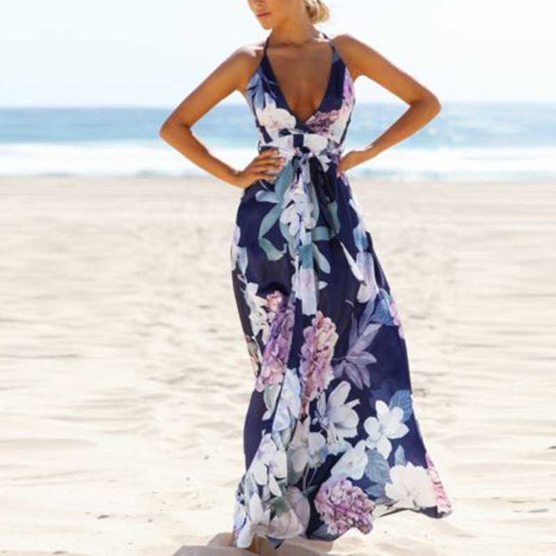 1f15a6e8be9ef Womens Boho Long Maxi Dress Loose Plus Size Beach Holiday Casual Summer  Sundress-in Dresses from Women s Clothing   Accessories on Aliexpress.com