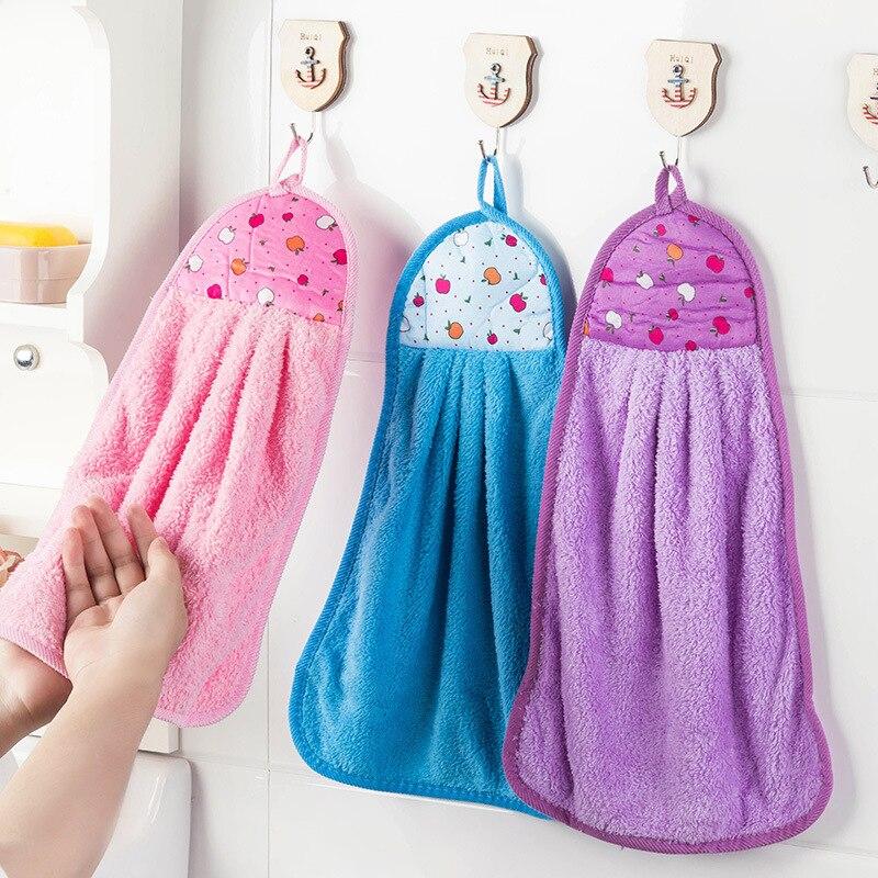 Hand Towel Hanging Kitchen Bathroom Thick Soft Cloth Wipe Towel Cotton Dish Cloth