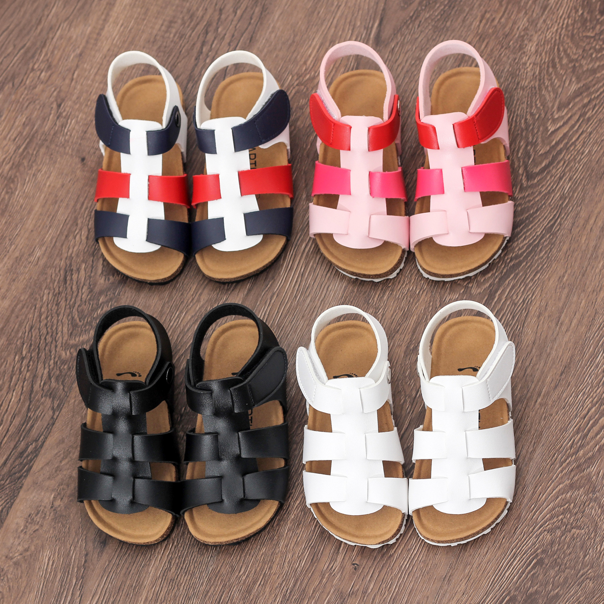 LARTUS Childrens Shoes New Girls Sandals Open Toe Shoes Fashion Roman  Gladiator Sandals Boys Girls Mixed Color Cork Shoes-in Sandals from Mother    Kids on ... 2e29df066477