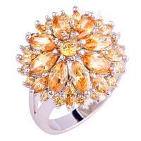 Wholesale Round & Marquise Cut Morganite 925 Silver Ring Size 7 8 9 10 11 12 13 Women Charming Champagne Jewelry Flower Design