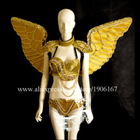 Catwalk Shows Stage Performance Gold Angel Wings Women Cosplay Ballroom Costumes Suit Clothes For Halloween Christmas Party