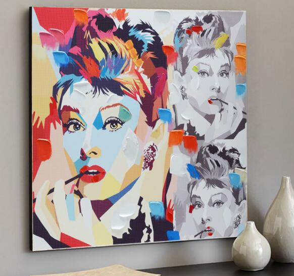 Audrey Hepburn Pop Colour Street Graffiti Art Decorative Figure Poster Canvas Paint Home Decor Picture Wall