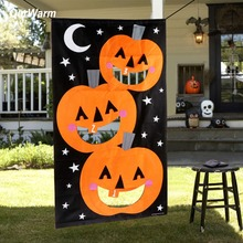OurWarm Halloween Kids Game Felt Hanging Pumpkin Bean Bag Toss for Family Outdoor Activity Decoration Props