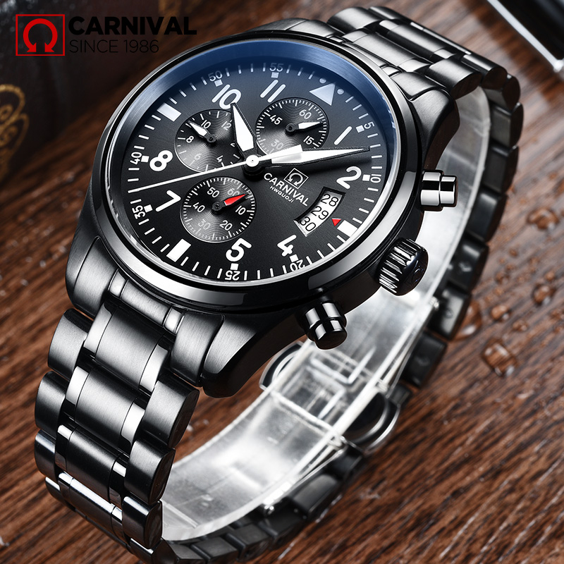 купить Carnival Chronograph Watch Men Quartz Waterproof All Black Stainless Steel multifunction Watches недорого