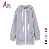 ACEMIRIZ 2017 New Zipper Sweatshirts Pullovers Autumn Winter Sweatshirt Women Casual Solid Hoodie Thicken Female YBL