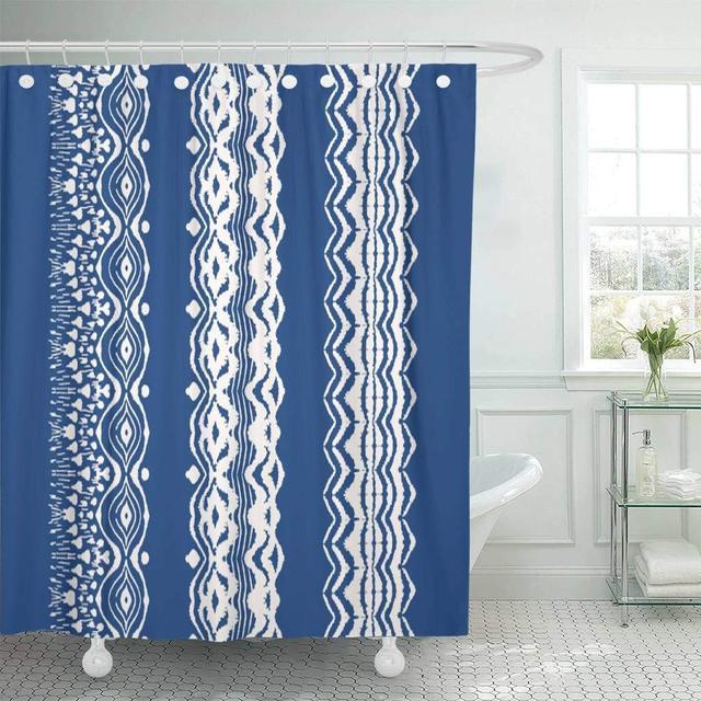 Fabric Shower Curtain Hooks Tie Dye Brushes Lace Ethnic Necklace Ikat Shibori Stripes Chevron Ink
