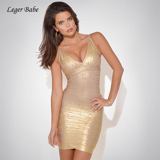 Leger Babe HL New Fashion Sleeveless V-Neck Golden Foil Printing Nightclub Celebrity  Party Women Bodycon Bandage Dress Vestidos 903a66719b20