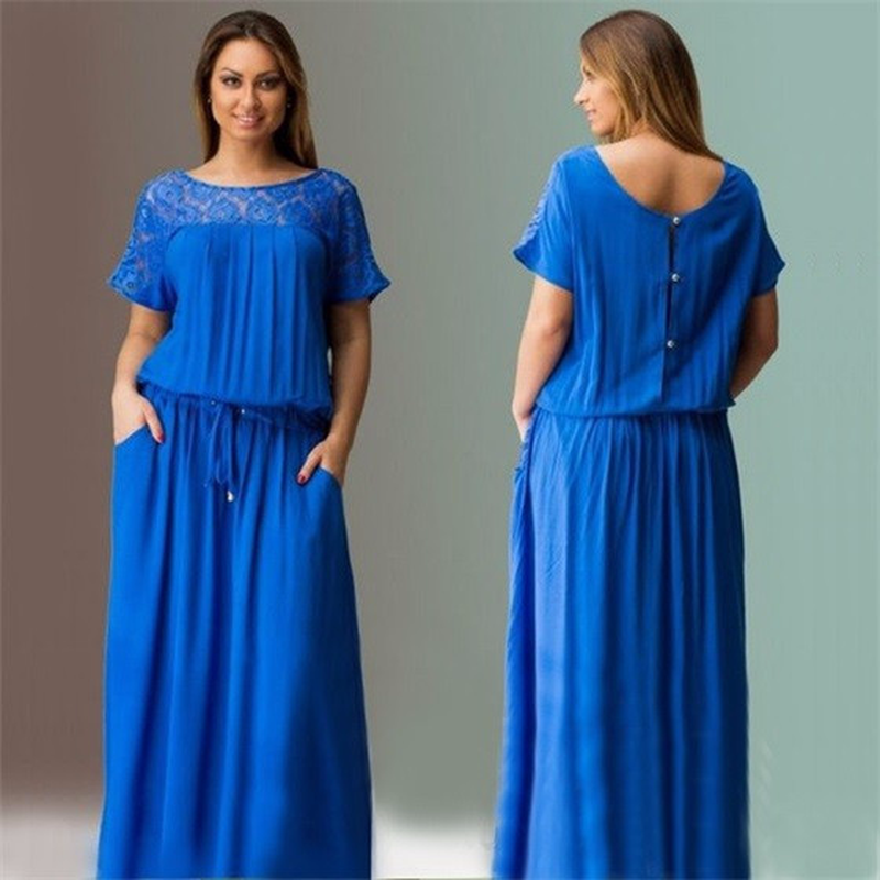 Dress 2018 Summer New Short-sleeved O-neck Dress Female Elegant Large Size Lace Dress Casual Dress Female