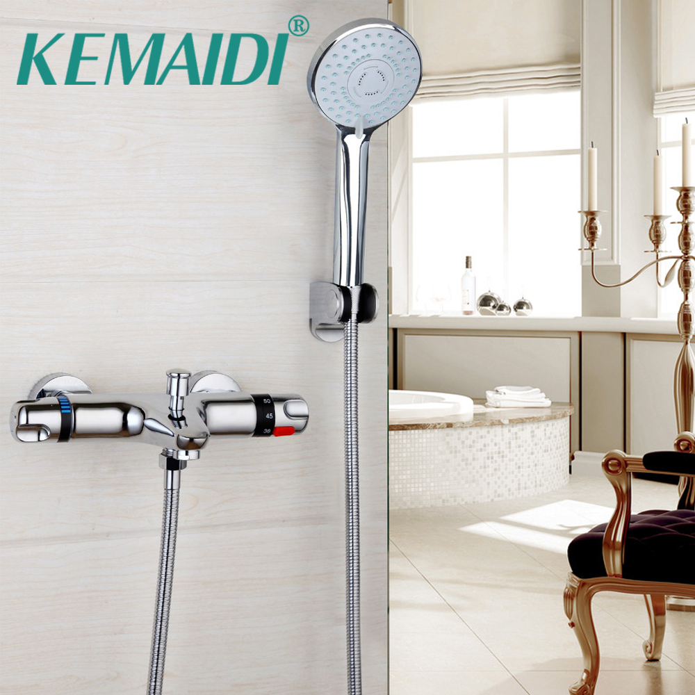 KEMAIDI Luxury Bathroom Faucet Chrome Polished Shower Set Taps Wall Mounted Thermostatic Faucets Rainfall Shower Sets Faucets 8 led luxury bathrome bathtub rainfall shower head polished wall mounted swivel mixer taps shower faucets set chrome finish