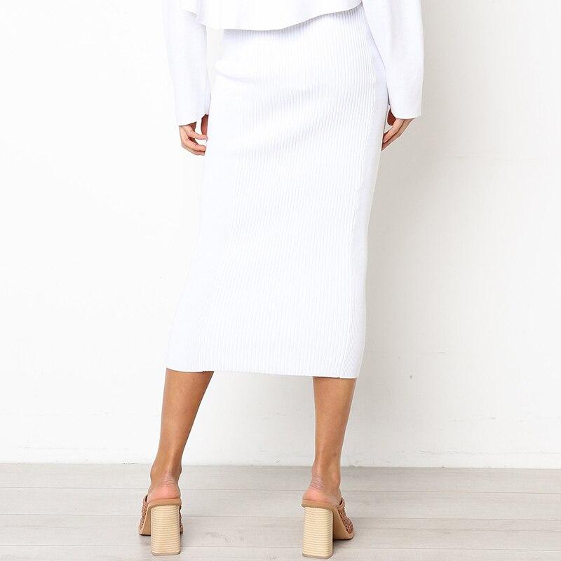 Женская модная юбка с эластичной талией тонкая прямая юбка миди облегающая Сексуальная Однотонная юбка черные белые новые женские Faldas Saia