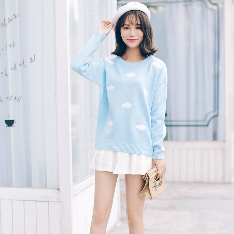 2018 Korean new winter sweaters Harajuku cute 3D clouds hedging thick round  neck women sweater Christmas Sweater -in Pullovers from Women s Clothing on  ... d6b1e5e6f