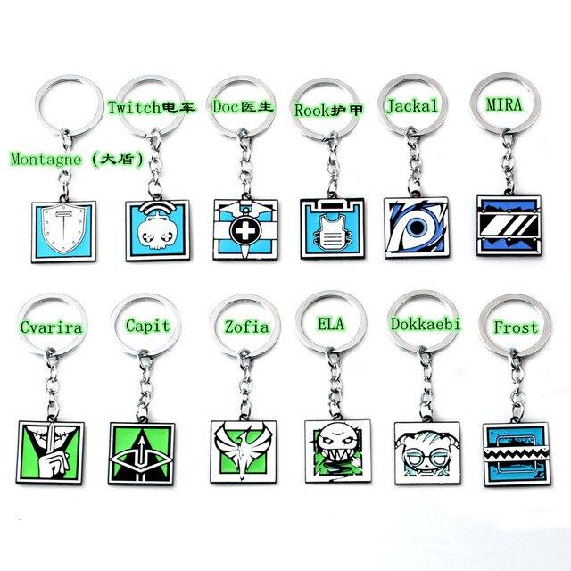 2019 Game Rainbow Six 6 Siege Key Chains Men Tachanka Echo Kapkan Lesion Smoke Sledge Hibana Key Ring Holder Porte Clef Jewelry 2