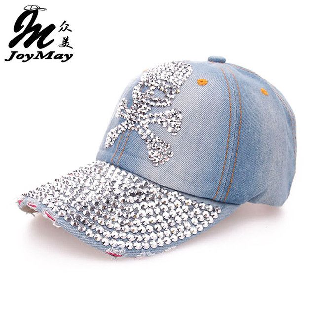 JoyMay Hat Cap Fashion Leisure Rhinestones Skull Jean Cotton CAPS Unisex Baseball Cap B071