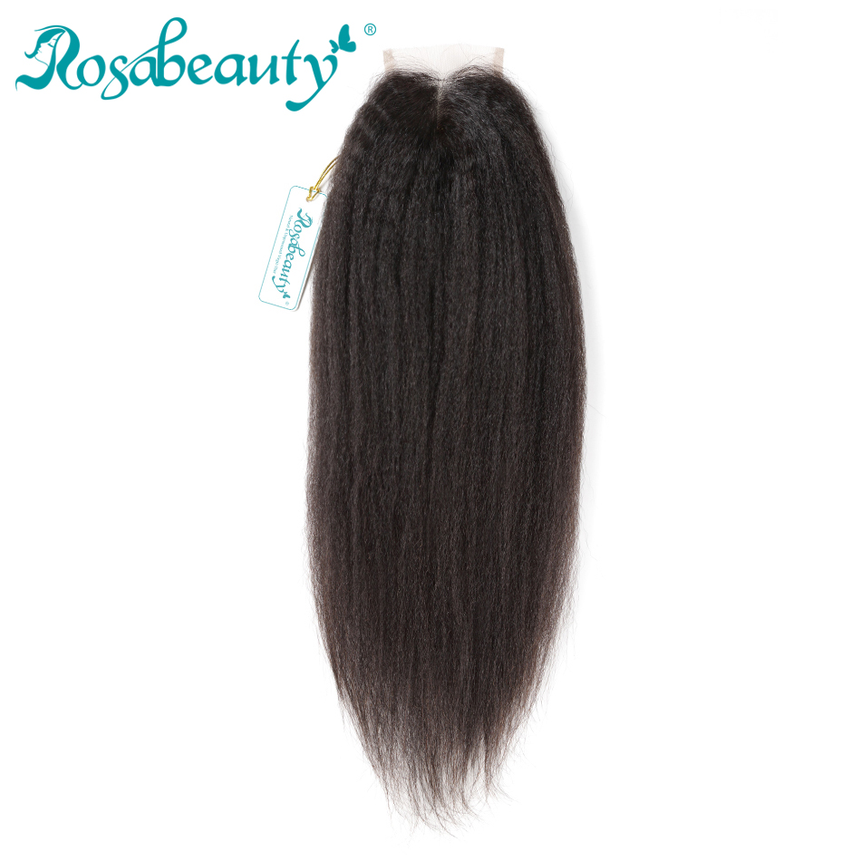 Rosabeauty 4X4 Lace Closure Brazilian Kinky Straight Middle Part 100 Human Remy Hair Bleached Knots with