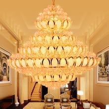 LED Modern Crystal Chandelier Lights Golden Lotus Flower Chandeliers Lighting Fixture Home Indoor Lobby Villa Big Lamp