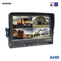 DIYSECUR AHD 4PIN 9 дюймов 4 Разделение Quad ЖК дисплей Экран заднего вида монитор Поддержка 4x1080 P AHD Камера с SD карты видео Запись