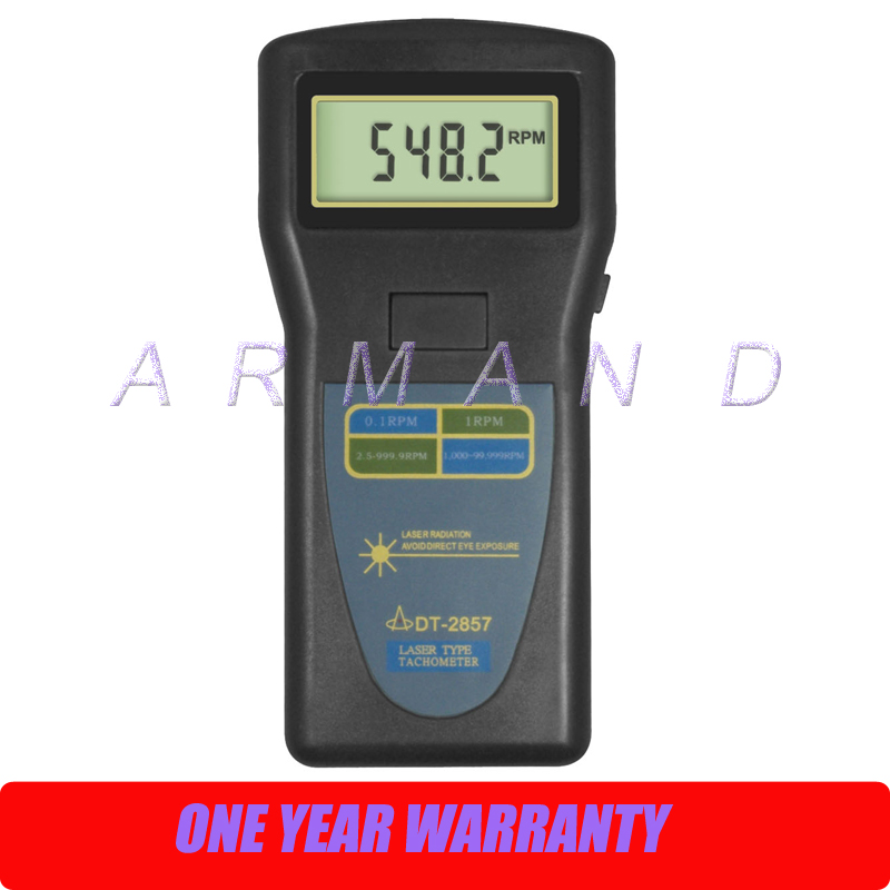 DT-2857 Digital Laser Photo Tachometer 2.5-99999RPM Non-contact DT2857 cem high quality digital tachometer rpm 5 digits 31mm blue backing lcd display dt 6236b photo contact tachometer