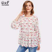 Dotfashion Allover Flamingo Print Lantern Sleeve Smock Blouse Multi Color Animal Print Top Female Long Sleeve
