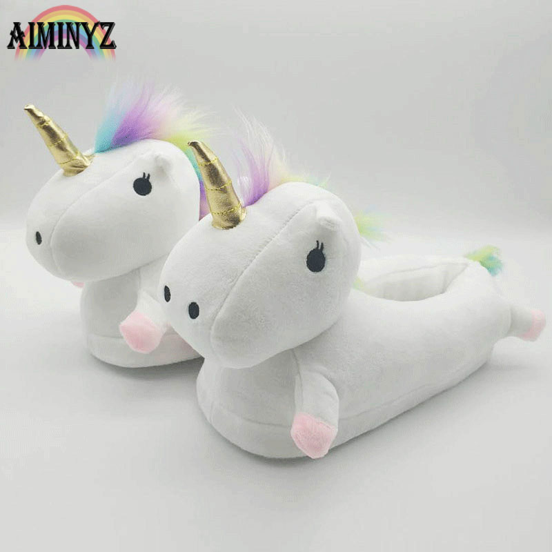 Unicorn Warm Slippers Women Funny Pantufa Unicornio Chausson Licorne Home Shoes Female Plush Fur Mules Cute White Pink Cartoon multicolor optional cheap funny unicorn slippers women