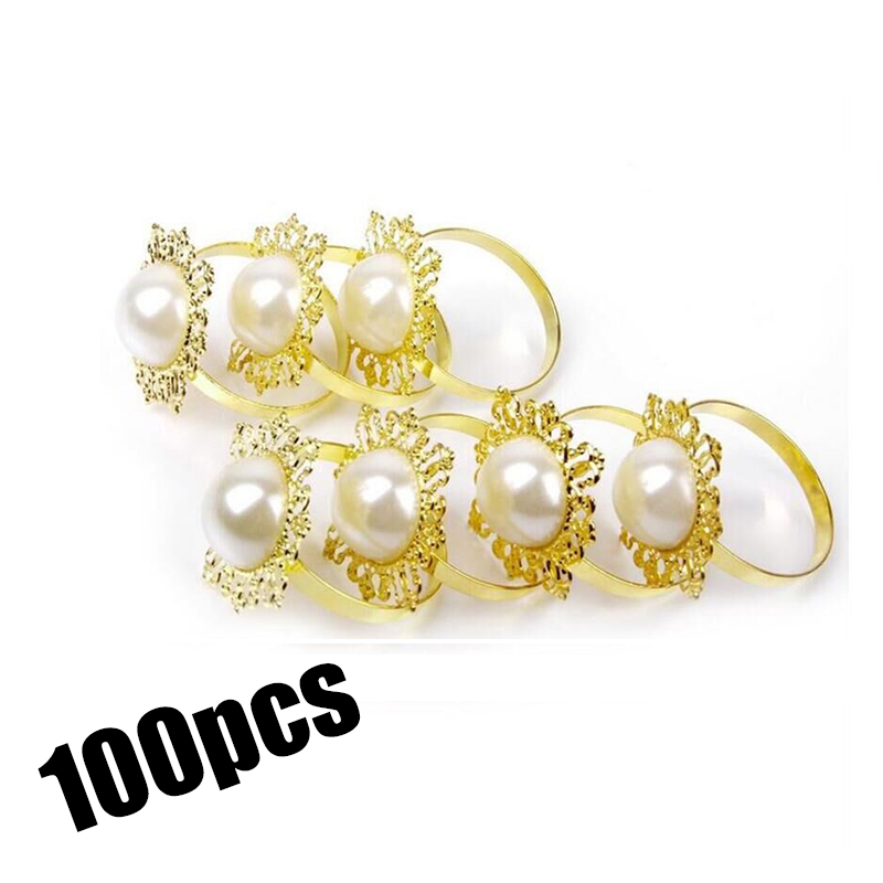 100pcs/lot Gold Napkin Rings For Weddings Serviette Holder Party Christmas Ring Metal Diamond Table Decor Rhinestone