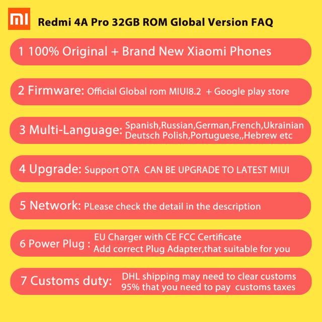 Global Version Xiaomi Redmi 4A 4 A 2GB RAM 32GB ROM Mobile Phone Snapdragon 425 Quad Core CPU 5.0 Inch 13.0MP 3120mAh MIUI 8.5