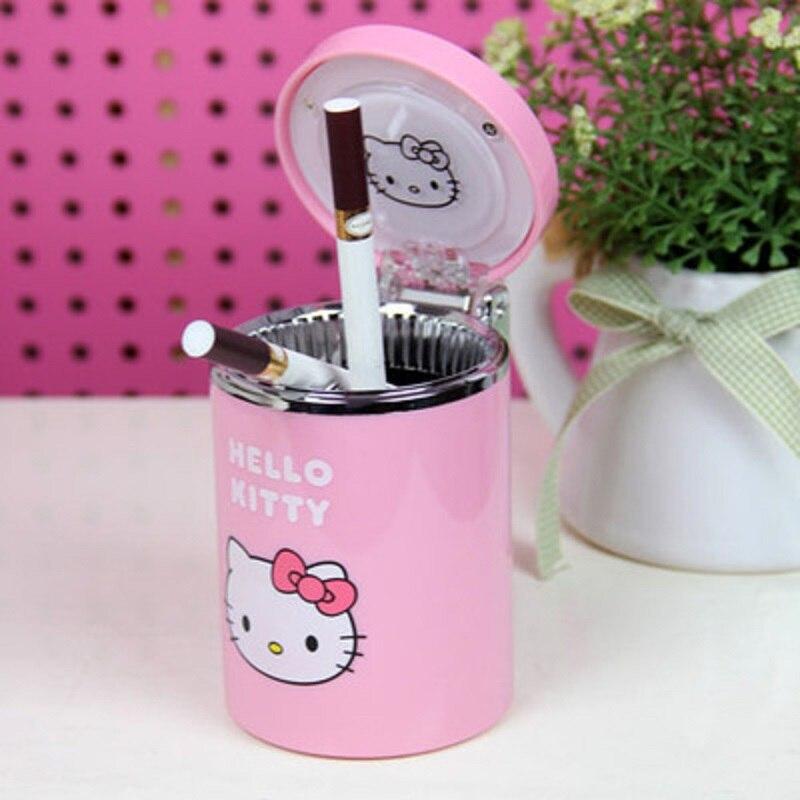Hello Kitty Portable Car Led Lamp Smoke Ash Cylinder Holder