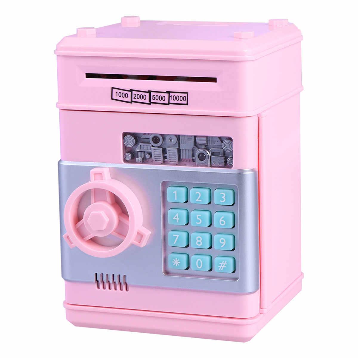 Electronic Piggy Bank Atm Pword Money Box Cash Coins Saving Safe Deposit Banknote Christmas Gift