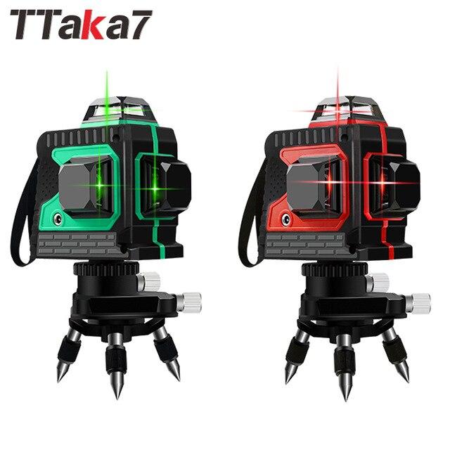 TTAKA7 12 lignes 3D niveaux Laser vert auto-nivelant 360 niveau laser rotatif niveau trépied à loisir outil de construction niveau laser