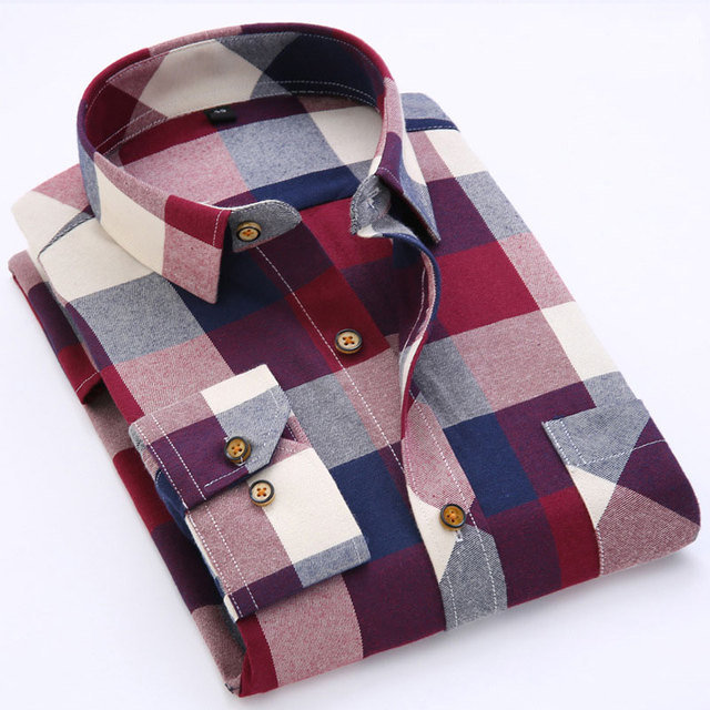 f78e7c83ab Autumn Men Shirts 2016 Long Sleeve Mens Casual Shirts Cotton Plaid Shirt  Men Flannel Warm Mens Check Shirt Plus Size Slim Fit-in Casual Shirts from  ...
