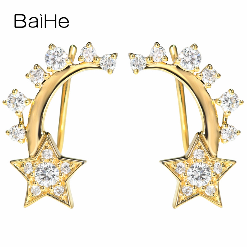 BAIHE Solid 14K Yellow Gold 0.48ct H/SI 100% Genuine Natural Diamonds Engagement Women Trendy Jewelry Unique Gift Stud Earrings