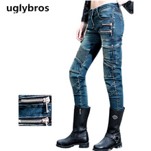Fashion straight blue jeans size 25 26 27 uglybros MOTORPOOL UBS11 jeans motorcycle protection pants women