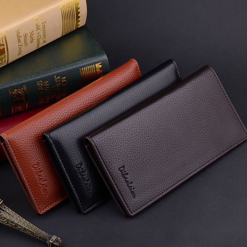 Billetera Hombre Men's Bifold Leather Breast Pocket Purse Suit Long Wallet Checkbook Solid Design Black Color