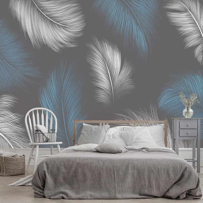 Custom Mural Wallpaper 3D Feather Nordic Style Living Room Bedroom Background Wall Papers Decor Papel De Parede Sala 3D Fresco