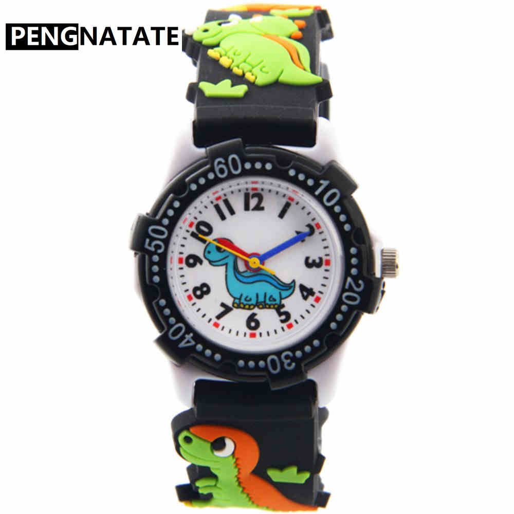 PENGNATATE Cartoon Children Watch For Girls 3D Dinosaur Strap Fashion Kids Watches Boys Cute Gift Silicone Bracelet Wristwatches