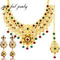 New Luxury Mix Colour India Kundan 3PC Necklace Set Women Flower Shape Mix Crystal&Rhinestone Ethnic Dance Statement Necklaces