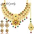 Nuevo Collar Mujeres de Lujo Color de La Mezcla India Kundan 3 UNID Forma de La Flor de La Mezcla Crystal & Rhinestone Danza Étnica Declaración collares