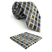 D17 Multicolor Checkes Mens Ties Silk Classic for Men Pocket Square Set Extra Long Slim