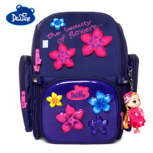 Delune 3D Flower Pattern School Bags For Girls Boys Car Cartoon Backpack Children Orthopedic Backpacks Primary Mochila Infantil