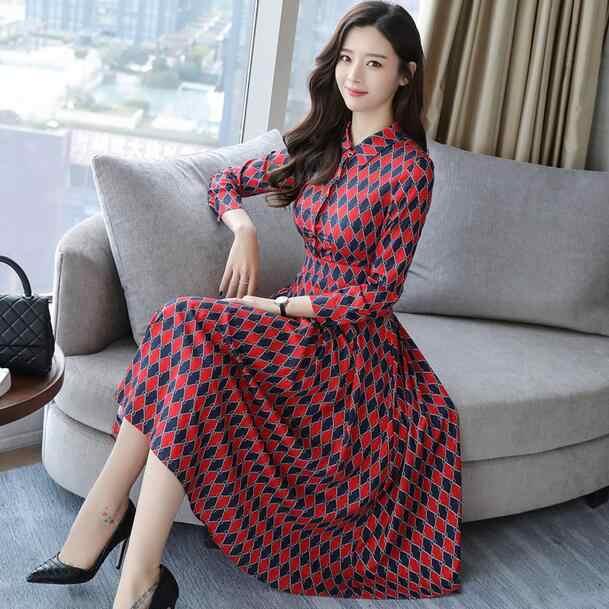Клетчатые платья 2018 дизайн для женщин для офиса с длинным рукавом винтажный принт красный для стройных элегантных женщин трапециевидная длинная рубашка платье DW50
