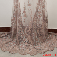 High Quality Handmade Lace Fabric Top Selling Embroidered African French Lace 2019 Beaded Tulle Lace Fabric for Wedding APW2564B