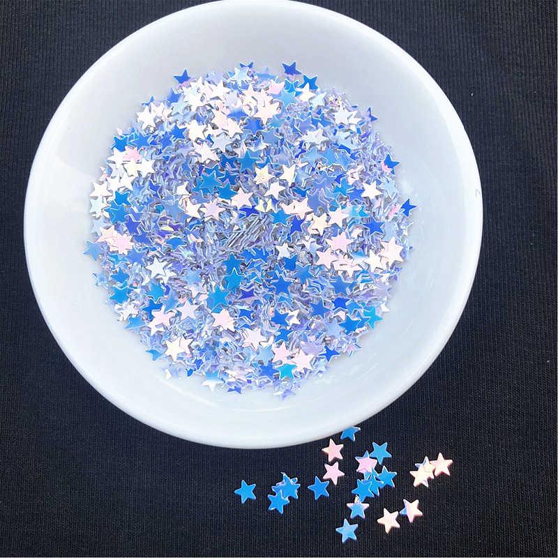 10G/Paket Berkilauan Kuku Palsu Bintang Payet 4 Mm Bintang Glitter Paillettes Bubuk Kerajinan Kuku Kain Payet, slime Pernikahan Decro