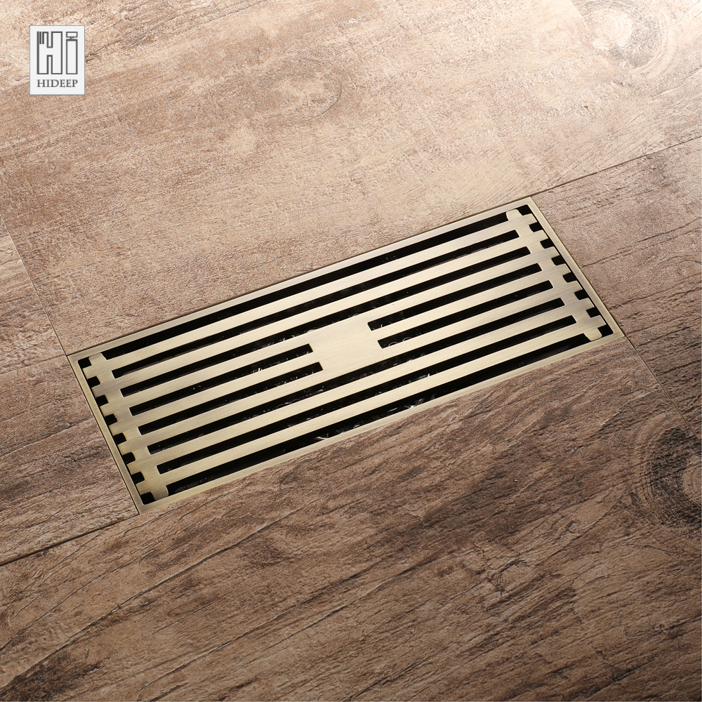 HIDEEP Euro Style Antique Brass Bathroom Linear Shower floor Drain Bathroom Deodorization Type Floor Drain Cover Waste Drainer euro square antique brass art carved flower bathroom sanitary floor drain waste grate