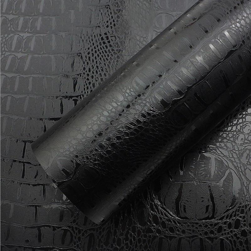 Grain Leather Black Film PVC Adhesive Vinyl Car Furniture Wrap Sticker Decal