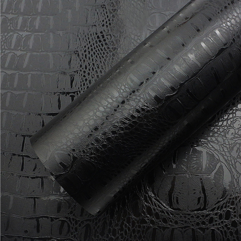 Black Crocodile Leather Grain Texture Vinyl Car Wrap Sticker Decal Film Adhesive Sticker Interior Car Styling Covering Wrapping