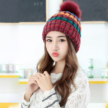 Winter new fashion fight color wool knitted hat Women plus cashmere warm cute thick wool hair ball beanies