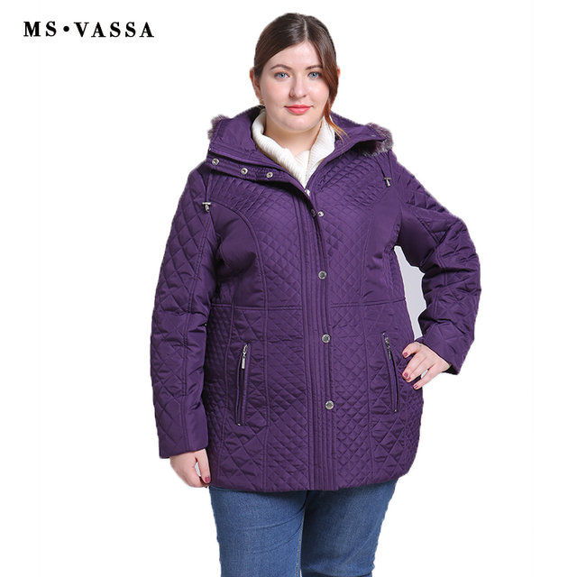 f56629c31f4 MS VASSA Plus Size Women Coats 2018 New Ladies Parka Winter Jacket Women  ukraine Wide-waisted Turn-down collar Parkas XL-11XL